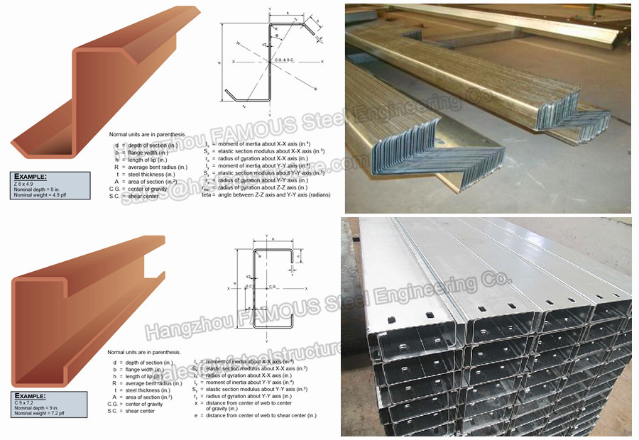 Customized Galvanizing Steel Purlins With Zed_60252828022 on Warehouse Steel Structure Building