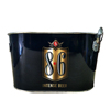 Custom High Quality Color Printed Oval Galvanized Tin Ice bucket with bottle opener