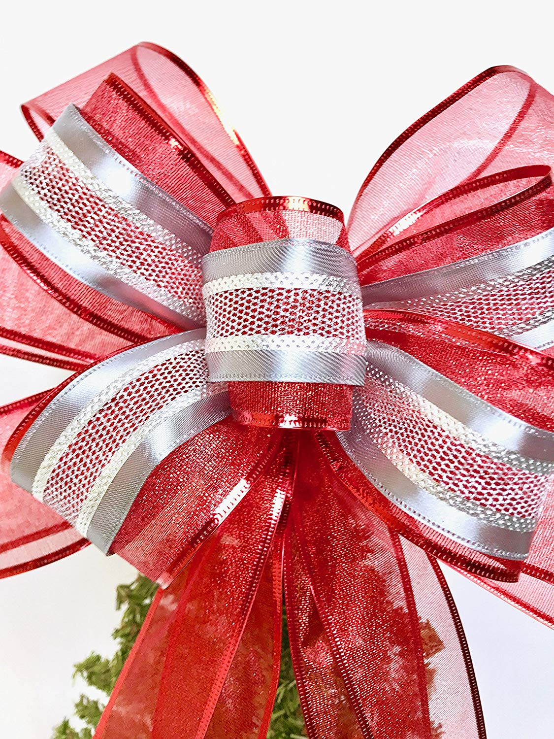 Wreath Bow, Red and Silver Tree Topper, Large Gift Bow, Wreath Bows, Holiday Bow, Home Decor, Christmas Bows, Swag Bow,- Handmade Bow