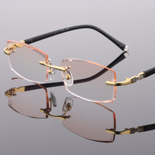 2017 Titanium Alloy Rimless eye glasses optical frame for man,Fashion Diamond trimming reading glasses