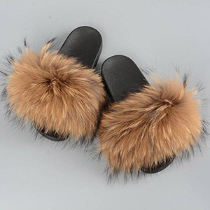 new 2018 popular fox fur slippers rubber sole slides for lady
