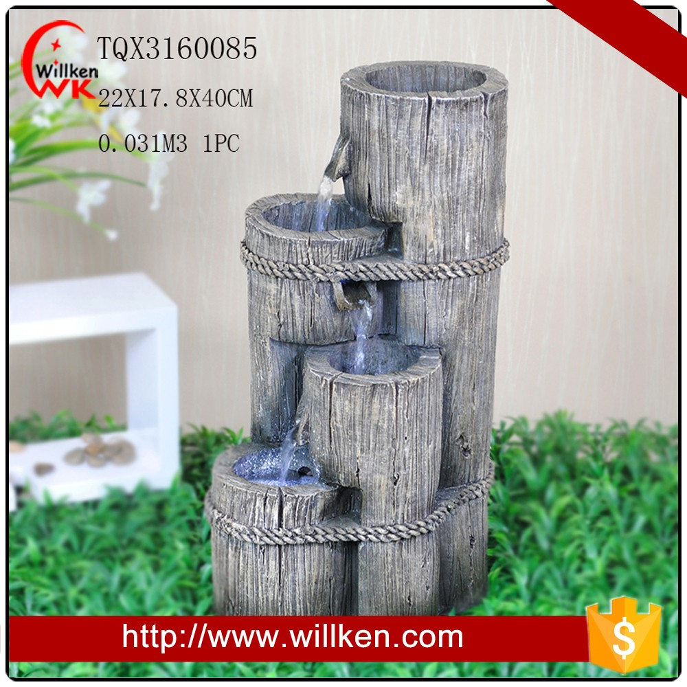 Indoor tabletop tree trunk polyresin water fountain with rope