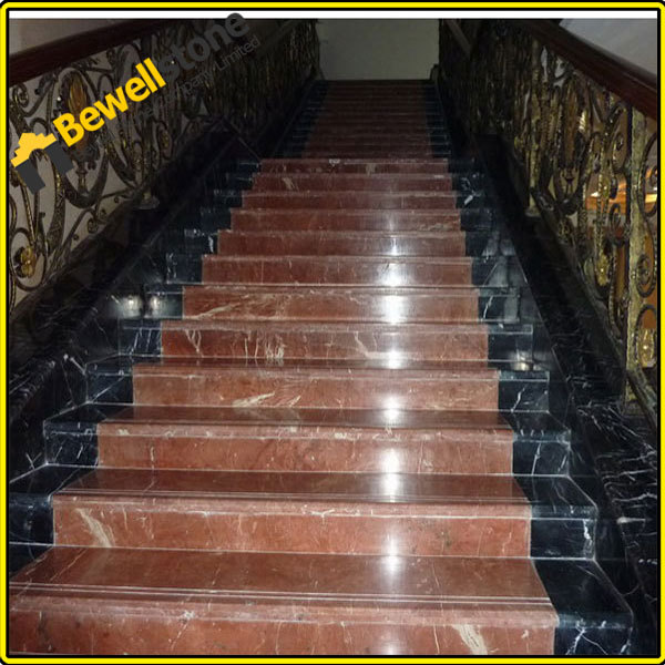 Outdoor Stair Landscape Stairs Stone Building Stairs (Maple Red Granite)