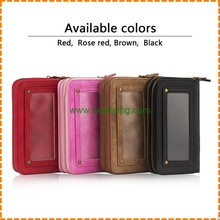 Wholesale 2 in 1 Multi-functional Detachable Wallet Zipper Girl Women Handbag leather case for iphone 7 plus
