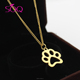 Women Pendant Necklace Dog Paw Print Quality Gold Plated Cuban Links Dye Cut Animal Charm Jewelry
