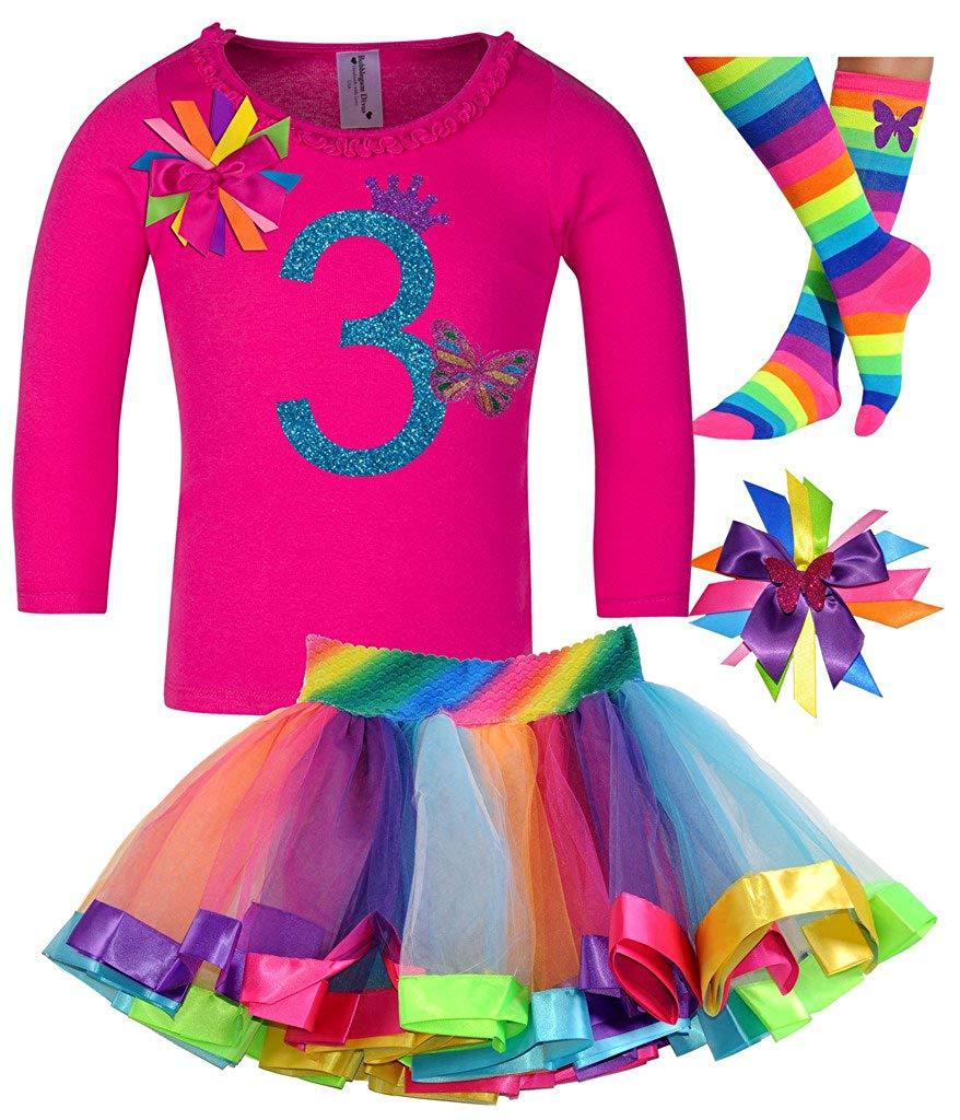 Bubblegum Divas Little Girls 3rd Birthday Rainbow Butterfly Shirt