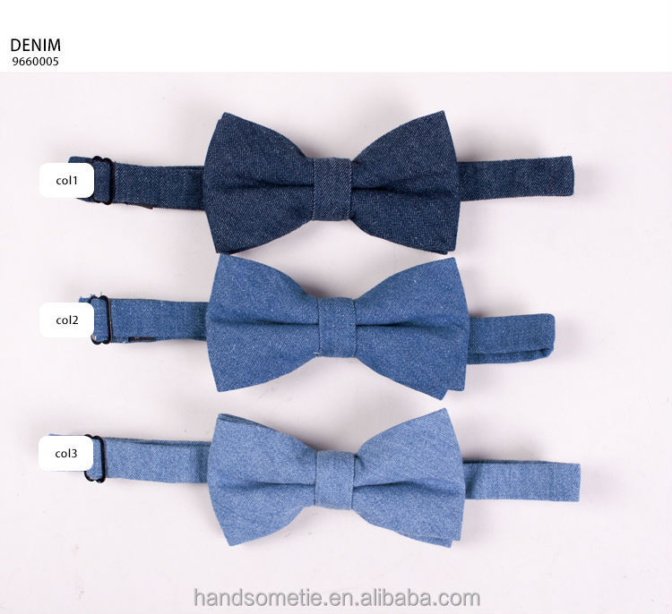 Hot Sale Denim Cotton Boys Blue Bow Tie