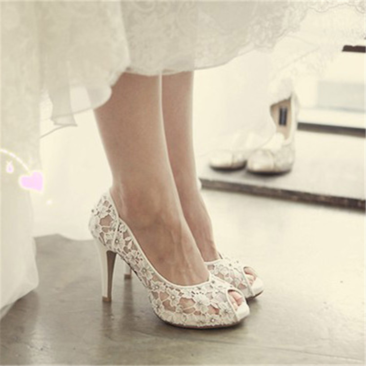 Free Shipping 2015 New Summer Woman White Lace Wedding