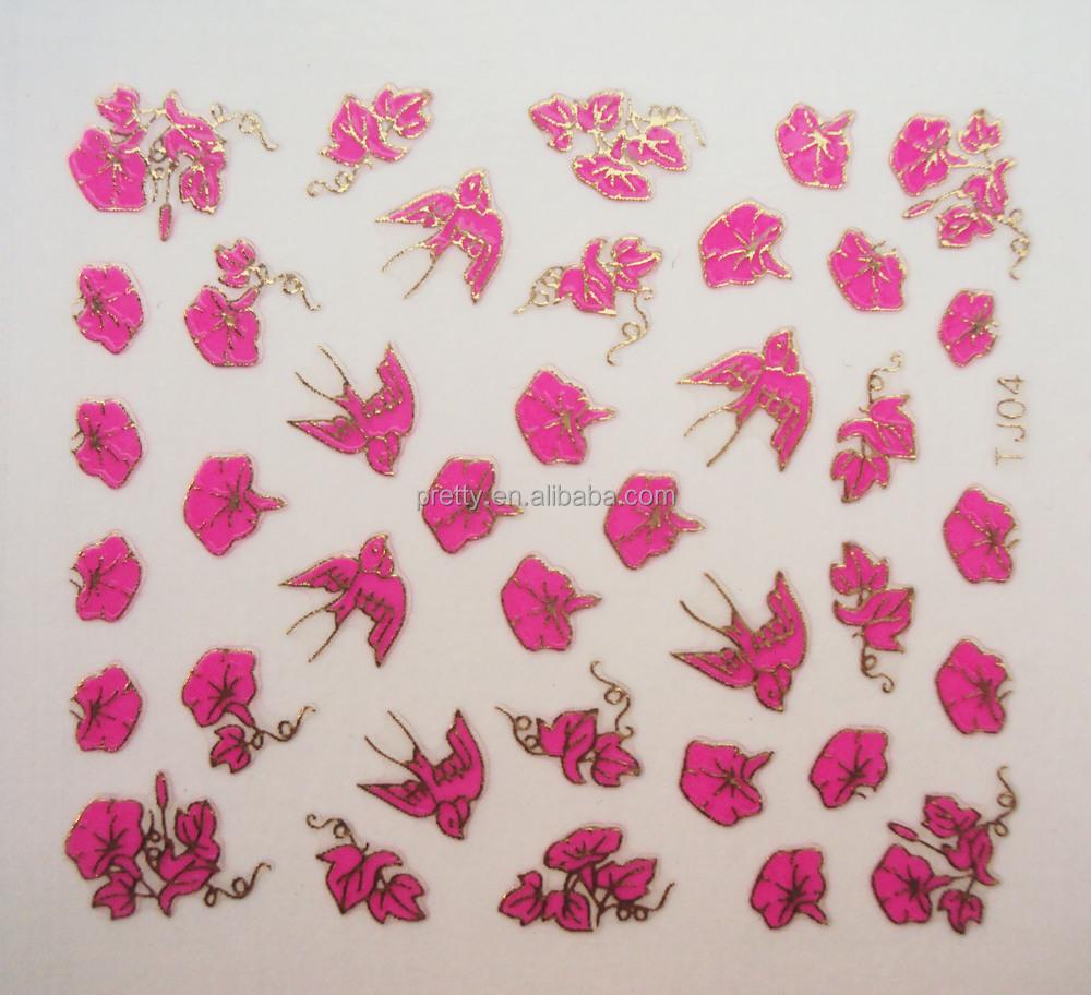 Dry Flower Nail Sticker Rose Design Nail Art Decoration Fashion ...