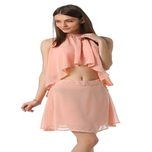 Fashion sexy mini halter latest elegant blouse and skirt sets for women SV019262