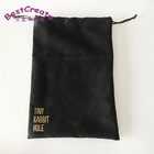 Custom printed 20x30cm black suede drawstring shoes dust pouches with gold logo