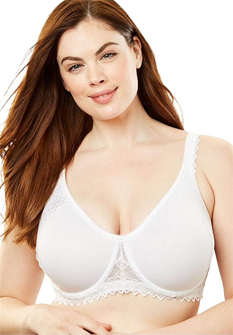 2d6e7395f5 Get Quotations · Women s Plus Size Lightly Padded Secret Shaping Bra White  ...
