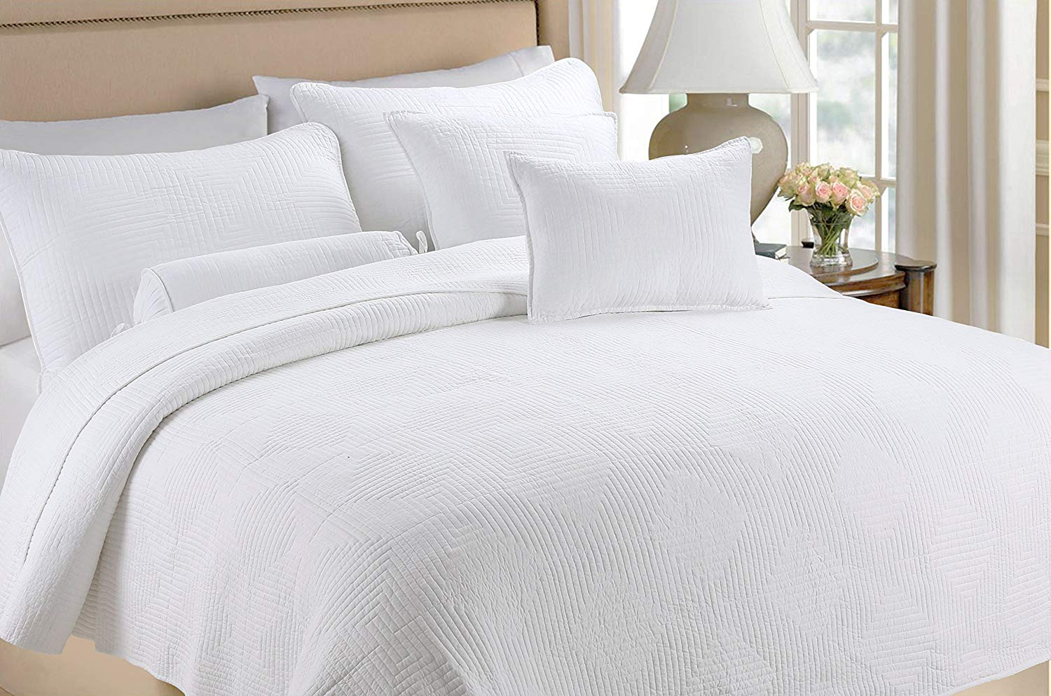 Cozy Line Home Fashions 100% COTTON Solid White Maze Hotel Quilt Set, Reversible Bedding Bedspread Coverlet,For Bedroom/Guestroom (Maze - White, Queen - 3 piece)
