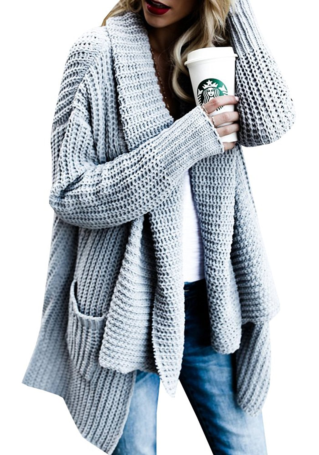 Ofenbuy Womens Cardigan Sweaters Open Front Long Sleeve Loose Chunky Knit Cardigans Outwears