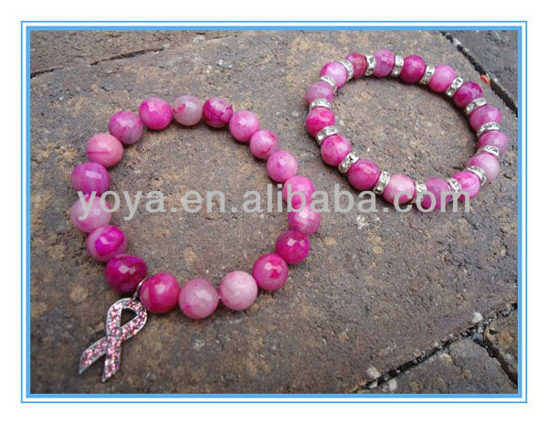 Br2019 Pink T Cancer Awareness Beaded Bracelet Product On Alibaba