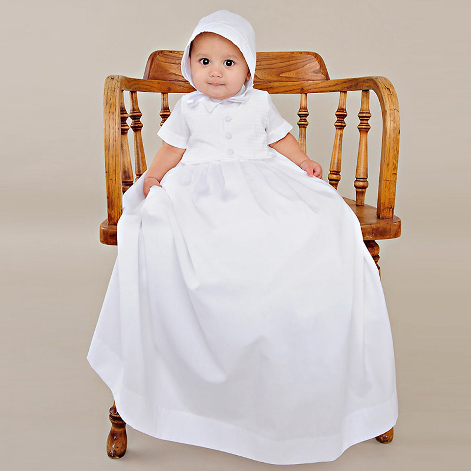 Aestheticism Baby Costume 1 Year Birthday Gown Draped Infant Boy Memory Christening Gowns with Crochet Jacket