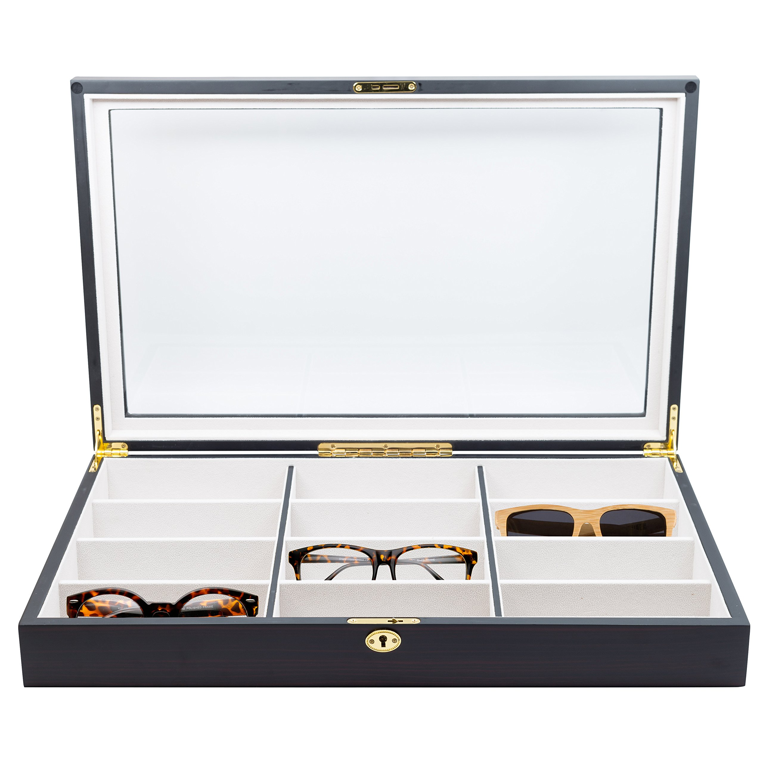 Get Quotations · 12 Piece Extra Large Ebony Wood Eyeglass Sunglass Glasses  Display Case Storage Organizer Collector Box