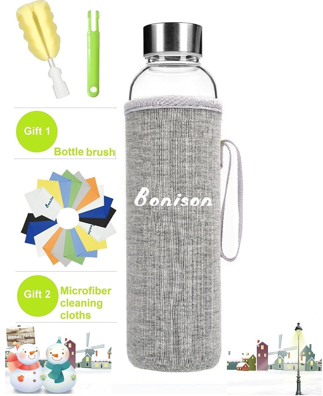 Newest 18 Oz Glass Bottle Top Level Quality Environmental Borosilicate Glass Water Bottle with Colorful Nylon Sleeve,BPA Free,Crysital Clear,Trendy Design BONISON 550-BLUE