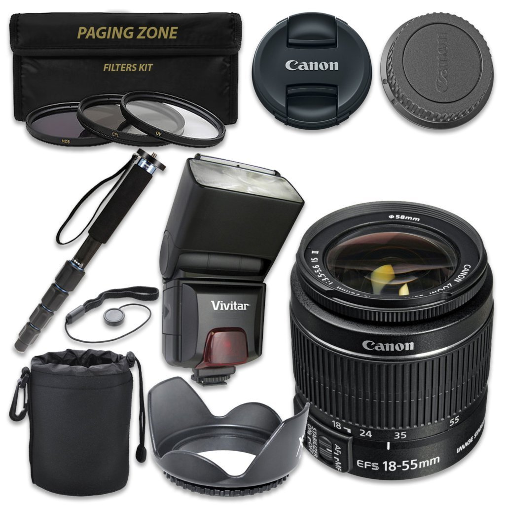 Canon EF-S 18–55mm f/3.5–5.6 IS II Lens with Vivitar TTL Flash + 3pc Filter Kit + Monopod