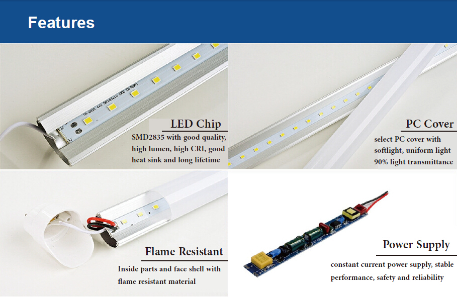 high lumen clear frosted 1500mm led tube 5ft 6ft 8ft g13 base 2835 on