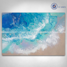 Shenzhen Dafen High Quality New Design Abstract Modern Wall Art Decor Handmade Sea Wave View Landscape Oil Painting For Sale