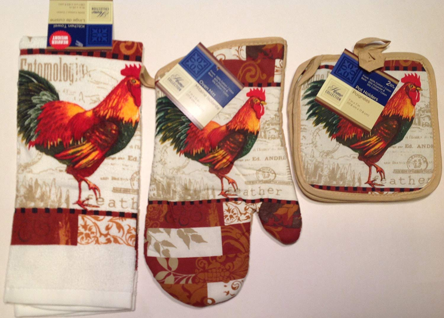 Rooster Kitchen Linen Set 4 Pc Oven Mitt Towel 2 Pot Holders New