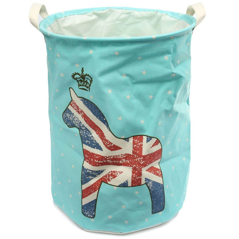 New Cute Big Cotton Linen Folding Washing Laundry Hamper Storage Basket Sorter Bag 50*37.5cm Blue Pony