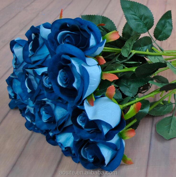 High simulation blue roses real touch silk artificial rose flower