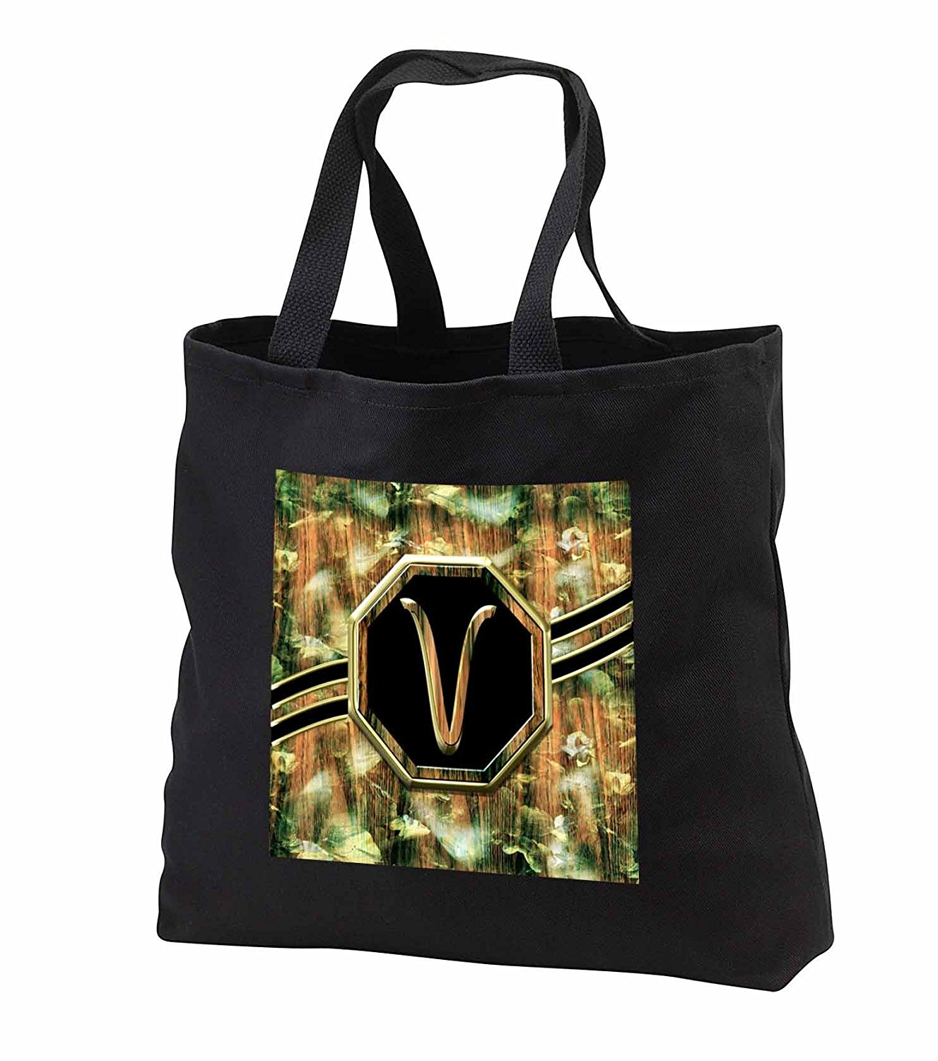tb_242351 Charlyn Woodruff - CW Designs Monogram Camouflage - Elegant Camouflage Monogram Letter V Faux Gold Wood Grain Image - Tote Bags