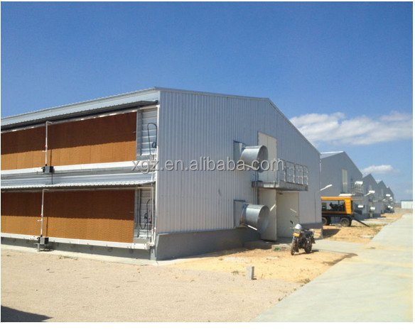 China made low price complete steel chicken house built in Sudan