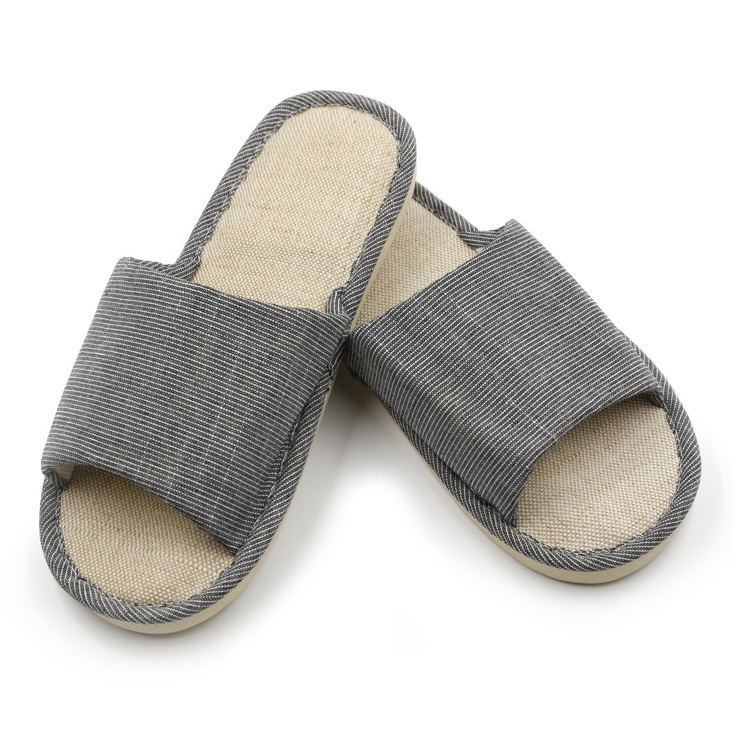 acd0d99bcd4 Get Quotations · Topgalaxy.Z Cotton Flax Casual House indoor Slippers  Open-toes Thick-sole Striped