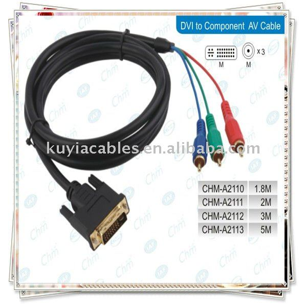 Dvi To 3rca Component Cable For Laptop Pc Lcd Tv - Buy Dvi To 3rca ...