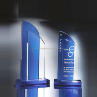 Wholesale laser engraved blank blue and clear crystal plaque awards trophy with customized logo for business souvenir