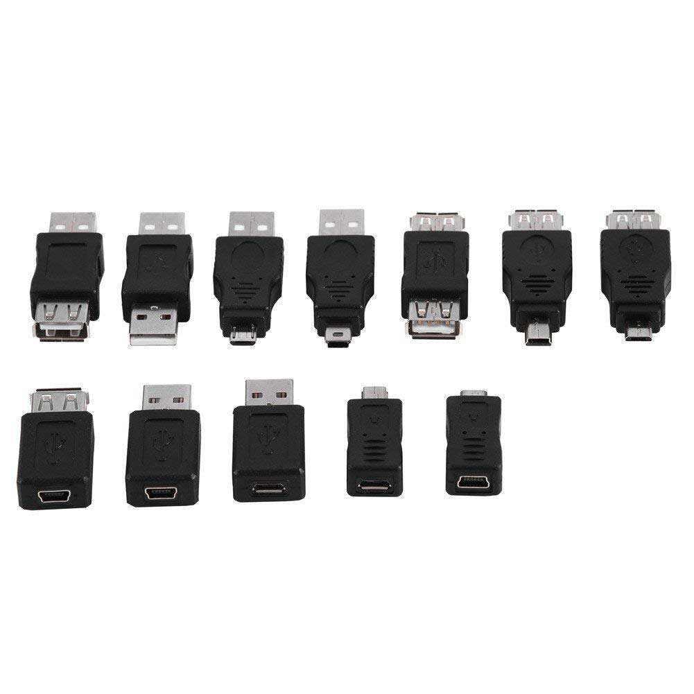 Asixx USB 2.0 Converter, Pack of 12 Pcs Multiple USB2.0 Adapters Micro/Mini Male Female Converters Connectors Meet Almost All USB2.0 Adapter you Need(12Pcs)