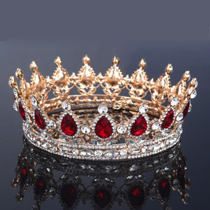 Glorious Simulated Red Ruby Crystal Pageant Full Circle Crowns Bridal Gold Tiaras