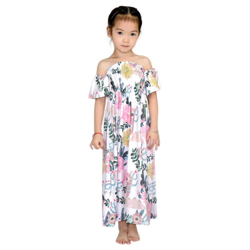 Mom Matching Daughter Boho Maxi Dress Frock Design For Baby Girl Off Shoulder Dress