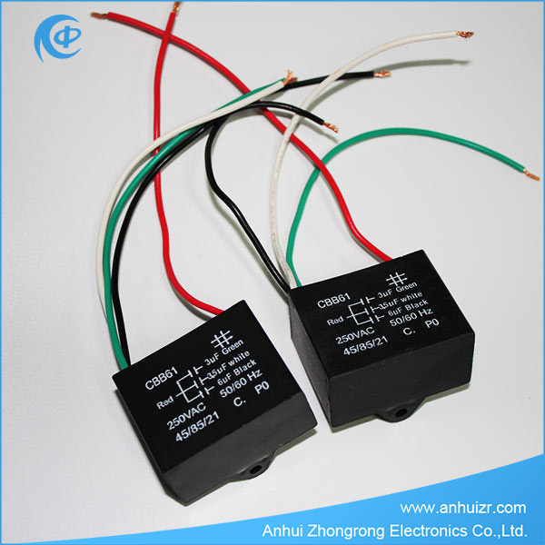 Fan Capacitor Cbb61 Dual Capacitor Three Wires 450vac 3uf+3.5uf+6uf ...