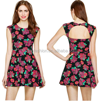 2015 High Quality Ladies Summer Flower Print Dress Wholesale ...
