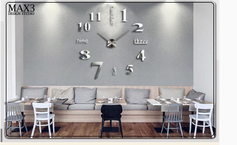 Di Lusso Di Grandi Dimensioni Diy 3d Orologio Da Parete Home Decor ...