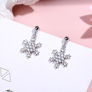 Promotion High Quality Women Jewelry Fashion 925 Sterling Silver Snowflake Shape Stud Earrings