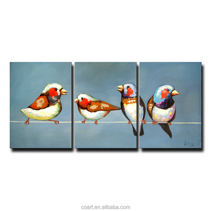 Decorative 3 Piece Wall Art Triptych Modern Abstract Bird Oil Painting