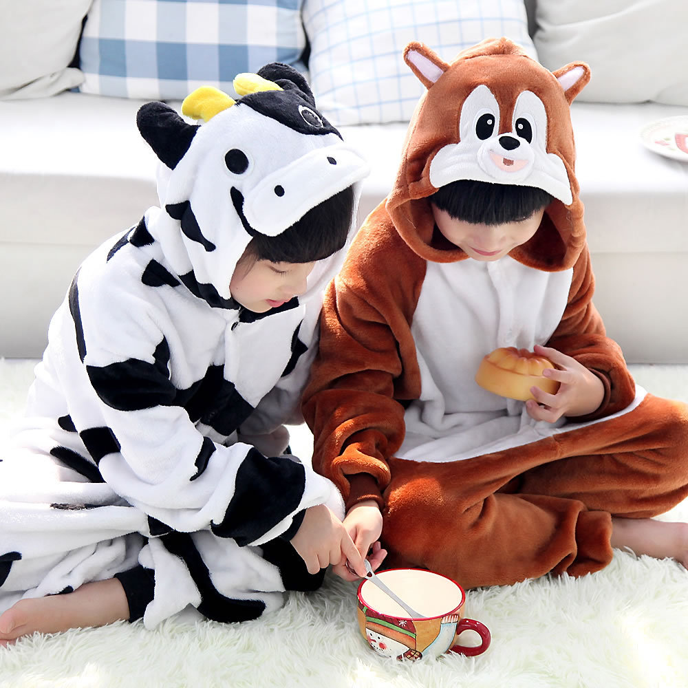 wholesale children clothing nightgown kids squirrel cow cartoon pajamas