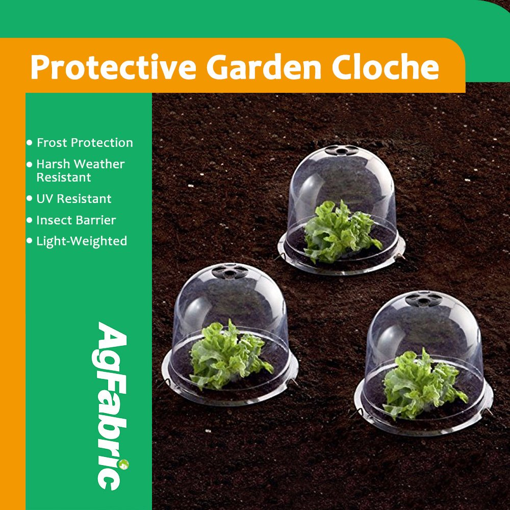 """Agfabric Plastic Bell Cloche, Protective Garden Cloche with Pins, Summer Shading,Insect Barrier,Plant Cover, 5-pack (Dia10""""xH7.5"""")"""