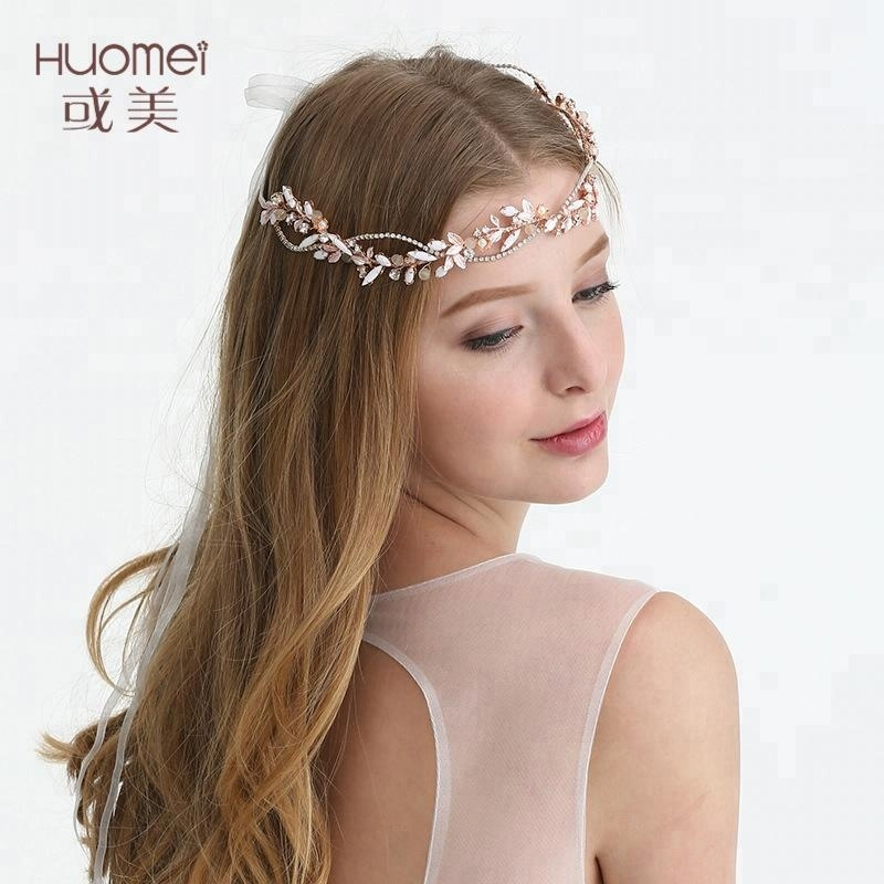 Handmade Crystal Rose Gold Hair Accessoires Pearl Bridal Wedding Headpieces