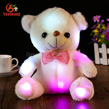 Wholesale Promotional Low Price Glow Dark Happy Birthday Plush Animal Electric Toy Glow Light Up LED Teddy Bear For Kids