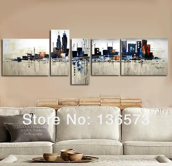 Aliexpress Com Buy 3 Pieces Wall Art New York City: Hand Painted 5 Panel Wall Art Set Night New York City