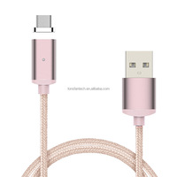 Newest Auto connect Magnetic micro usb data cable 2 in 1 braided usb cable