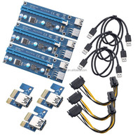 PCI-e 1x to 16x Card, Riser PCI Express Bit Coin Mining Adapter ,with USB 3.0 Extension Cable and SATA to 6Pin,