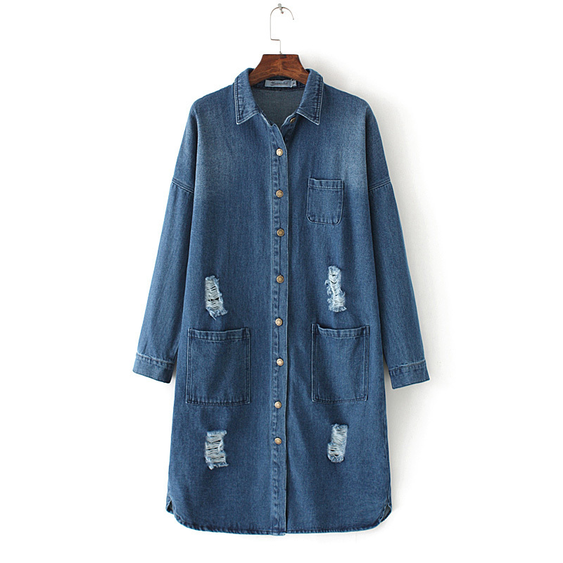 Womens Fashion Casual Long Sleeve Denim Trenchcoat Loose Design Plus Size Long Denim Coat for Ladies Summer Autumn dress coat