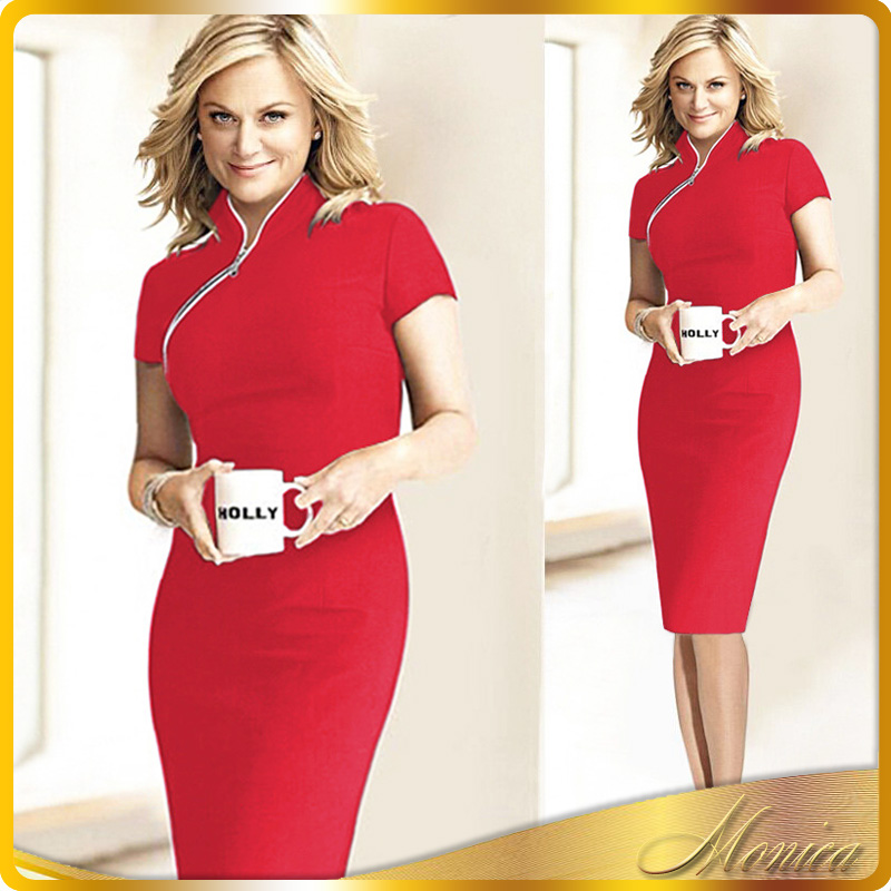 Womens Vintage Elegant Front Zipper Wear to Work Colorblock Business Office Party Bodycon Sheath Pencil Wiggle Dress